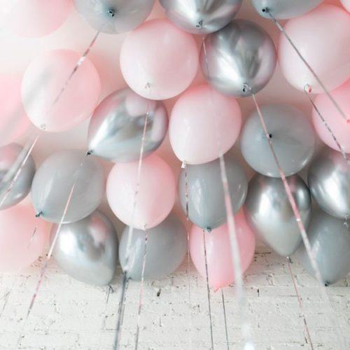 Шары под потолок 15 штук Розовый Серый и Серебро Хром