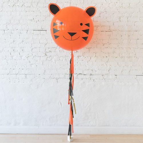 Шар 60 см Мордочка тигра с гирляндой тассел на грузике