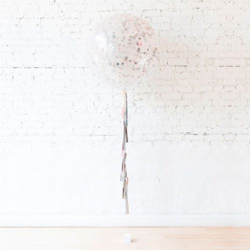 Шар 60 см Прозрачный с Конфетти Розовый Серебро с гирляндой тассел на грузике