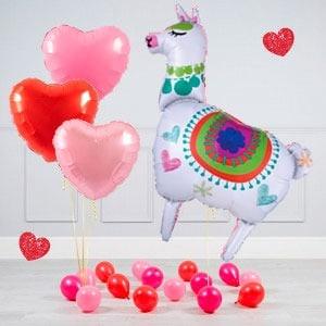 Комплект из воздушных шаров Лама Сердца и шары на пол