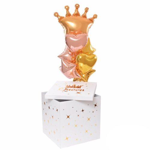 Коробка сюрприз с воздушными шарами для Принцессы надпись под заказ