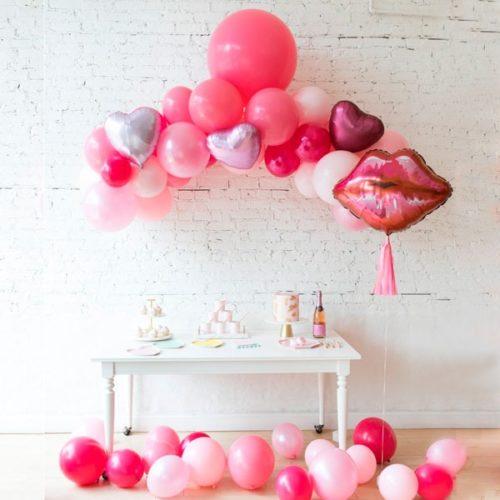 Набор для фотосессии Гирлянда из разных шаров Шар Поцелуй и шары на пол Макси 15 штук на День Святого Валентина