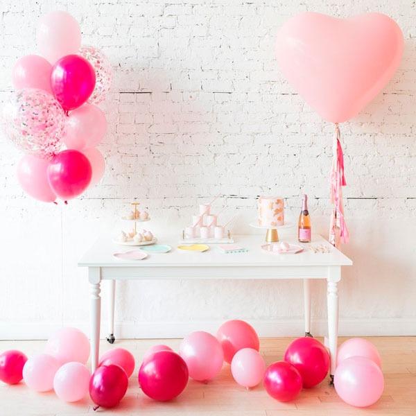 Набор шаров для фотосессии Фонтан из 10 шаров Розовые тона с Конфетти Большое сердце и шары на пол Макси 15 штук на День Святого Валентина
