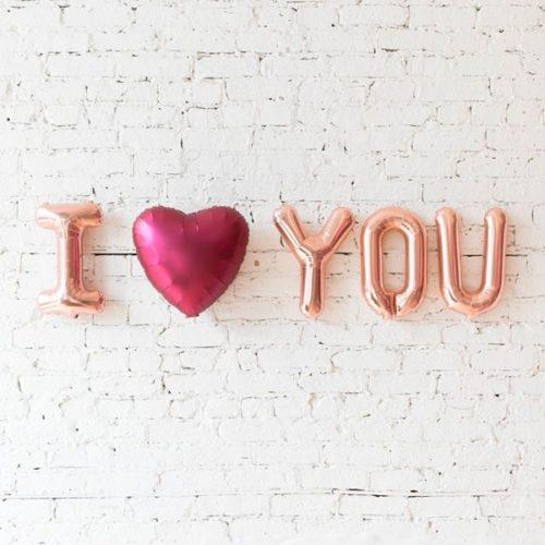 Надпись Я люблю тебя из шаров-букв с воздухом