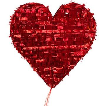 Пиньята Сердце красное с лентами