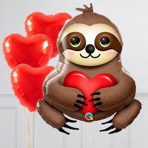 Связка из воздушных шаров Влюблённый ленивец и Сердца