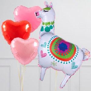 Связка из воздушных шаров Лама и Сердца