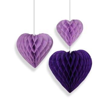 Фигура бумажная Сердце сиреневое 15-20-25 см 3 штуки