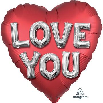 Шар 46 см Сердце Буквы 3D Сатин Красный
