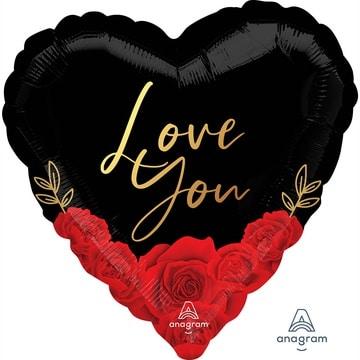 Шар 46 см Сердце Красные розы на черном