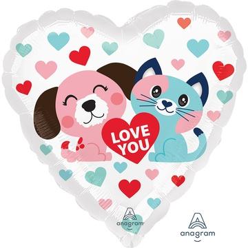 Шар 46 см Сердце Люблю тебя Котик и Собачка