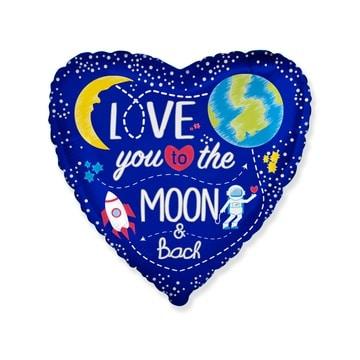 Шар 46 см Сердце Люблю тебя до Луны и обратно