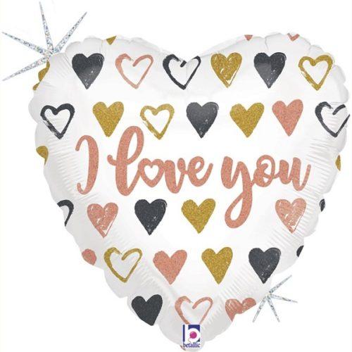 Шар 46 см Сердце Я Люблю Тебя граффити Голография