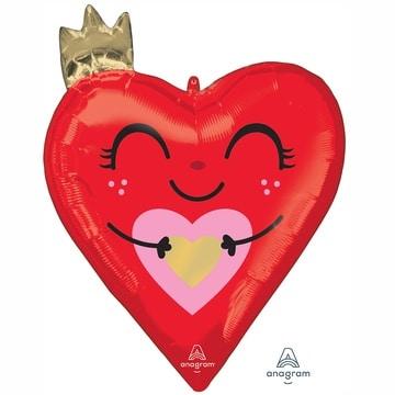 Шар 48 см Фигура Сердце красное с короной