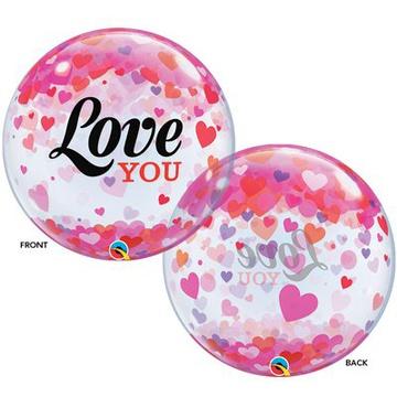 Шар 55 см Сфера 3D Deco Bubble Конфетти сердец