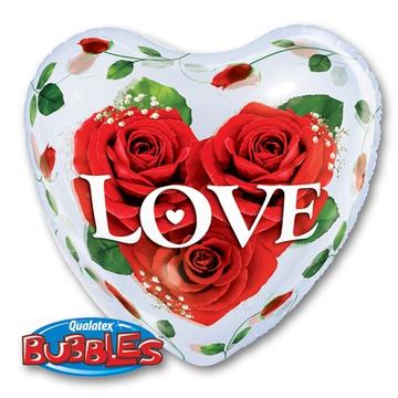 Шар 55 см Cфера 3D Сердце Bubble Розы