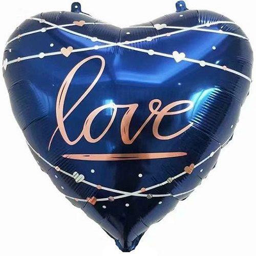 Шар 56 см Сердце Любовь кинематика звезды Синий