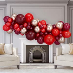 Гирлянда из разных шаров Красные тона и Золото Хром на День Святого Валентина 2 метра