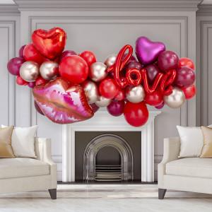Гирлянда из разных шаров Любовь Красные тона и Золото Хром на День Святого Валентина 2 метра