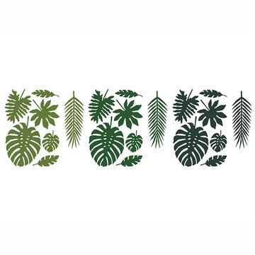 Декор - комплект Листья тропические зеленый 21 штука