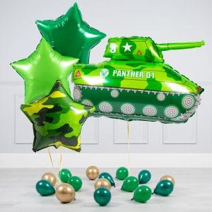 Комплект из шаров Танк Хаки и Звезды и шары на пол