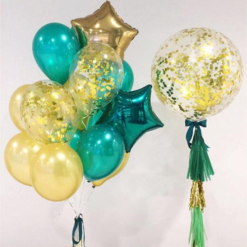 Комплект из шаров Фонтан со звездами и Большой шар с гирляндой Тассел