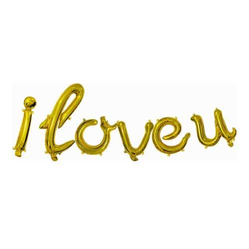 Набор шаров-букв 43 см Мини-Надпись I Love u изящный курсив Золото
