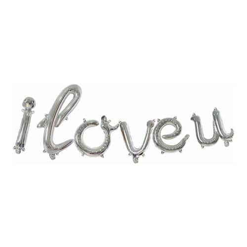 Набор шаров-букв 43 см Мини-Надпись I Love u изящный курсив Серебро