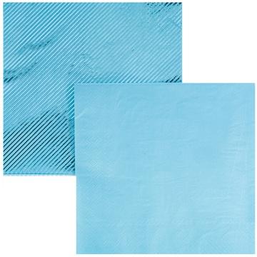 Салфетка 33 см фольга голубая 6 штук