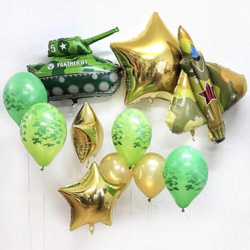 Связка из шаров Милитари Танк Истребитель и Звезды