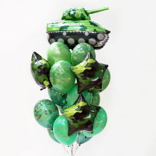 Связка из шаров Милитари Танк и Звезды