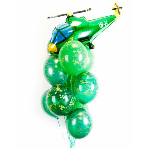 Связка из шаров Милитари и зеленый Вертолет