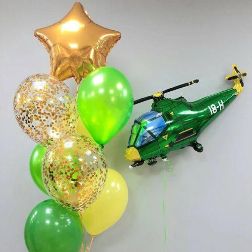 Связка шаров Микс с конфетти Звезда Золото и Вертолет