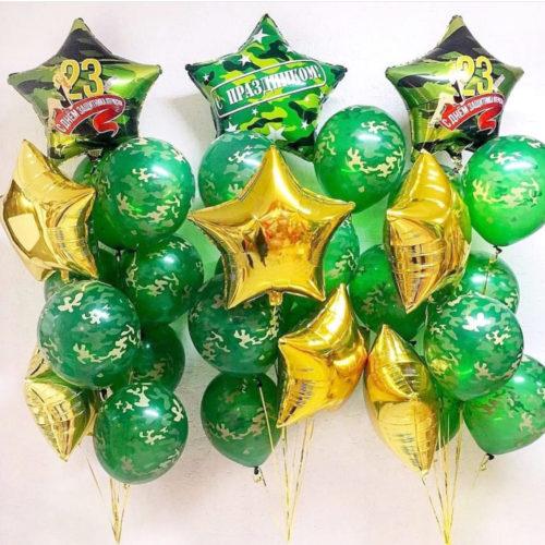 Связки шаров Микс со Звездами 3 штуки