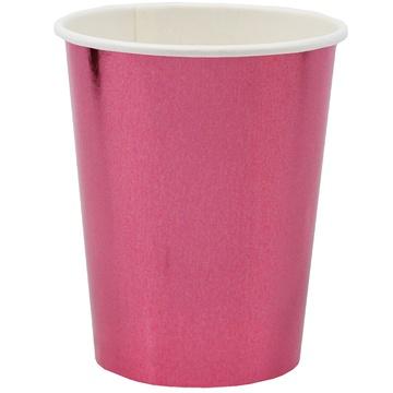 Стакан 250 мл фольга розовый 6 штук