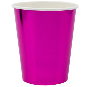 Стакан 250 мл фольга ярко-розовый 6 штук
