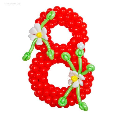 Стойка из воздушных шаров с цифрой 8 Красная с Белыми цветами