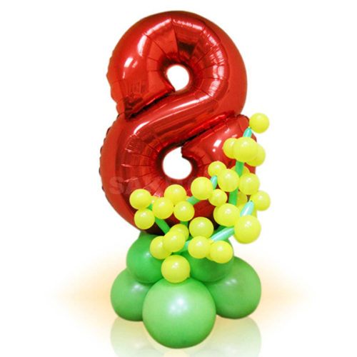 Стойка из воздушных шаров с цифрой 8 Красная с желтыми цветами