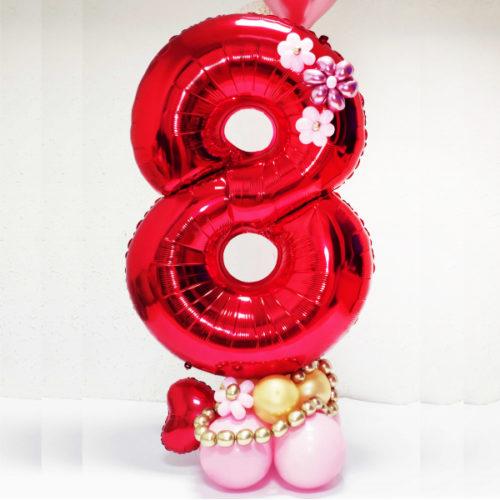 Стойка из воздушных шаров с цифрой 8 Красная с цветами