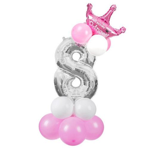 Стойка из воздушных шаров с цифрой 8 Серебро с короной