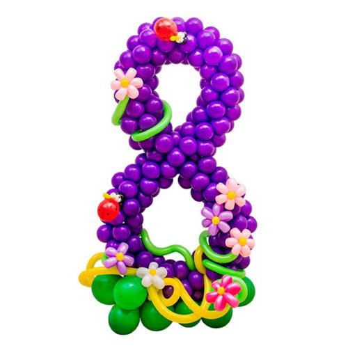 Стойка из воздушных шаров с цифрой 8 Фиолетовая с цветами и Божьей коровкой
