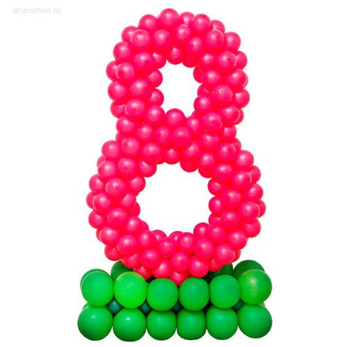 Стойка из воздушных шаров с цифрой 8 Фуксия на подставке лайм