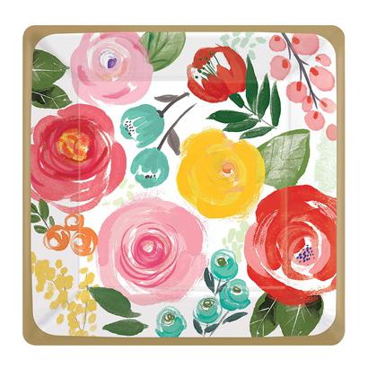 Тарелка квадрат 17 см Цветочный Вальс 8 штук