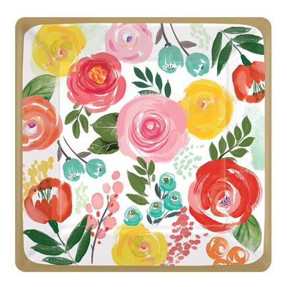Тарелка квадрат 25 см Цветочный Вальс 8 штук