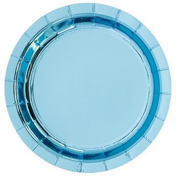 Тарелка 17 см фольга голубая 6 штук