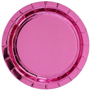 Тарелка 17 см фольга розовая 6 штук