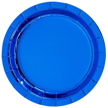Тарелка 17 см фольга синяя 6 штук