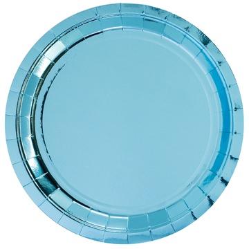 Тарелка 23 см фольга голубая 6 штук