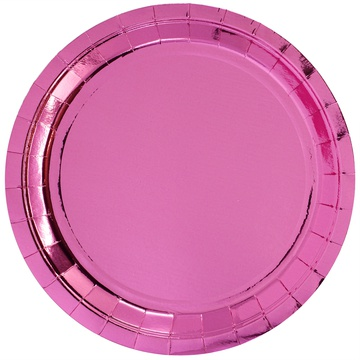 Тарелка 23 см фольга розовая 6 штук
