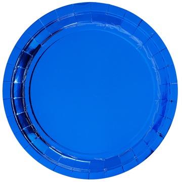 Тарелка 23 см фольга синяя 6 штук